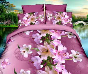 Bedding Set Duvet Quilt Cover Pillowcase Bedroom Queen Size Beautiful Floral A8