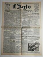 N216 La Une Du Journal L'auto 31 août 1907 la vie automobile