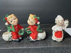 1950's Vintage Noel Christmas Candle Holder Figurines Japan Commodore Mrs Claus