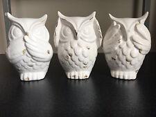 3 Pcs Home Decoration Statue Ornament White Ceramics Owl See Hear Speak No Evil