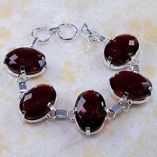 """Handmade Elegant Red Ruby Garnet 925 Sterling Silver Bracelet 8"""" #E27261"""