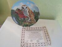 Delightful Colourful Owl Plate THE BARN OWL by Jim Beaudoin - Bird Interest