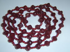"Vintage Long 24"" Flapper 20s Style Maroon Burgundy Wine Acrylic String Necklace"