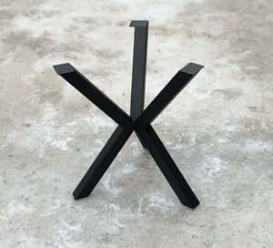 """Metal Coffee Table Base Spider Steel Legs Modern Steel X-Frame Black 20"""" (50cm)"""