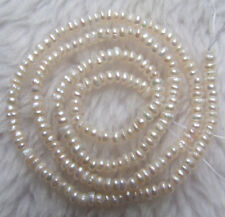 2x3mm White Freshwater Pearl Near Rondelle Loose Beads 15.5""
