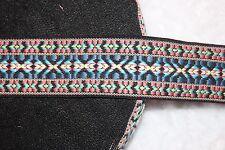 "1 yard reversible Black Coral Blue White Aqua aztec woven sewing ribbon Trim 2"""