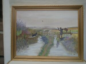 Splendid framed canvas painting signed E Human 1996   DUCK SHOOT ON THE MARSHES