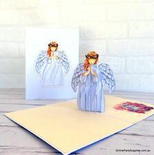 Handmade Praying Guardian Angel Pop Up Christmas Card - White