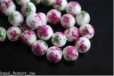 20pcs Round Fuschia Flower Ceramic DIY Bracelet Necklace Jewelry Bead 10mm