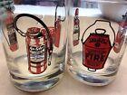"Fire Fighter Fyr Fyter Fire Extinguisher Barware Glasses 4"" 1/8 Tall Fireman"