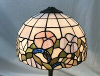 "Vtg Tiffany Style Stained Glass Leaded Lamp Shade 12""x8"" Purple Blue Pink Flower"