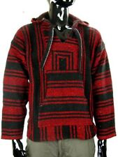 MEXICAN BAJA JERGA HOODIE HIPPIE FESTIVAL TOP RED & BLACK Sz M L XL XXL