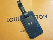 Authentic Louis Vuitton Large Black Leather Horizon Luggage Tag  Stamped D.K
