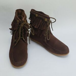 Bucco Ankle Boots Shoes Fringe Lace Up Moccasin Brown Ayita Womens Size 6.5