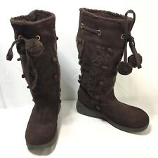 Skechers 46293 Womens 11 Brown Knit & Suede Leather Winter Pull On Boots