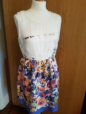 Zara Basics floaty dress - size L 12-14-skater style cream & blue floral-wedding
