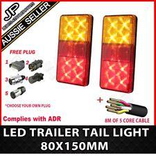 PAIR OF LED TRAILER LIGHTS, 1 X PLUG, 8M X 5 CORE WIRE KIT REWIRE COMPLETE