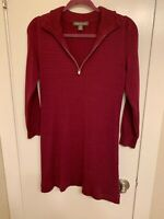 NWOT Tommy Bahama Womens Sweater Dress Sz Small P Maroon 1/4 Zip Cotton Blend