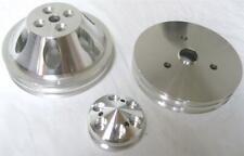 Small Block Chevy Aluminum Short Water Pump Crankshaft Alternator Pulley Kit NEW