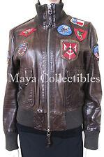 Vintage Miss Top Gun Dark Brown Lambskin Aviator Bomber Flight Jacket Military L