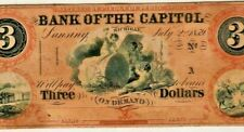 "$3 ""BANK OF THE CAPITOL"" (MICHIGAN) RARE! $3 ""BANK OF THE CAPITOL"" WITH COA"