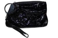 M Style Lab Wristlet Handbag Purse Glossy Black Glitter Clutch Evening New NWT