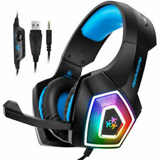 3.5mm Mic Gaming Headset RGB LED Headphones for PC Laptop PS4 Slim Xbox One