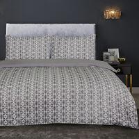 Diamond Geometric 100% Brushed Cotton Quilt Duvet Cover Flannelette Plain Grey