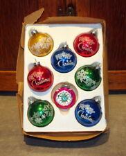 "VINTAGE ""MERRY CHRISTMAS""  MERCURY GLASS CHRISTMAS TREE DECORATIONS ORNAMENTS"