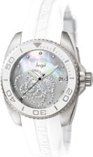 New Womens Invicta 0486 Angel Crystal Accented Dial White Rubber Strap Watch