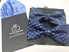 Bow Tie And Pocket Square Set 2 Bow Ties Beautiful Matching Mens Pocket Square