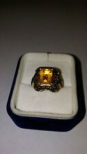 Gold Over Sterling Silver Size 8 Bold Statement Ring 7.1 grams