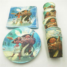 MOANA MAUI PARTY PACK PLATES CUPS NAPKINS HAPPY BIRTHDAY 10 GUESTS 40 PIECES