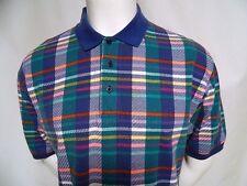 Vtg Colours by Alexander Julian Polo Rugby Shirt Multi Color plaid cotton sz L