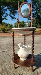 Antique Wash Basin Stand With Bowl And Pitcher