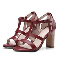 Ladies Strappy Open Toe High Block Heels Pumps Stilettos Sandals Fashion Shoes