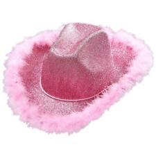 Cappello Cowgirl Rosa con Lurex e Piume di Marabu, One size PS 10030