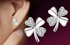 Luxury Fashion Earring Boho Boutique Uk Silver Bling Four Leaf Clover Studs