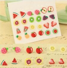 Fashion 12 Pairs/Set Women Cute Fruit Shape Ear Stud Colorful Earrings Jewelry
