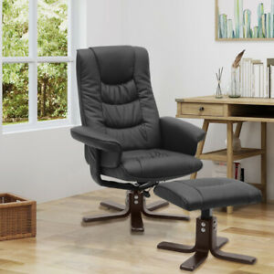 Ergonomic Office Chair w/Footstool Swivel High Back Recliner Executive Leather