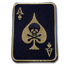 Ace Skull Black Card Patch Iron on Poker Harley Chopper Biker Rider Motorcycle
