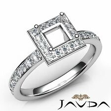 18k White Gold 0.45Ct Classic Halo Diamond Engagement Princess Semi Mount Ring