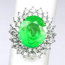 EMERALD GREEN OVAL 9.10CT.SAPPHIRE 925 STERLING SILVER RING SZ 6.75 JEWELRY GIFT