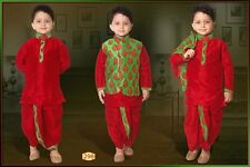 0 Age Boys Kurtha Indian Costume Sherwani Bollywood Suit Red & Green D11-0