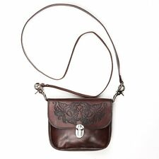 100% Leather Tooled Roses Leather Hip Bag Shoulder Purse Cross Body Bag