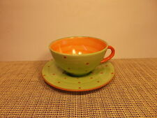 Holdenby Pottery Mad Hatters Tea Party  Cup & Saucer Set Green/Orange
