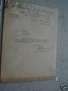 Unique 1911 Pennsylvania Railroad Freight Agent Letter