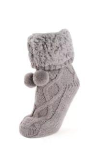MUK LUKS Women's 'POM CABIN' Dark Grey Sweater Socks FabFitFun L/XL (8-11) NWT