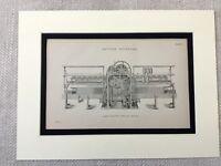 1880 Antico Stampa Vittoriano Cotone Mulino Spinning Macchina Platts Mulo
