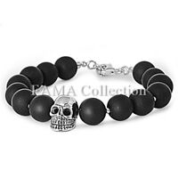 Unique FAMA 925 Sterling Silver Skull Charm with Matte Black Onyx Bead Bracelet